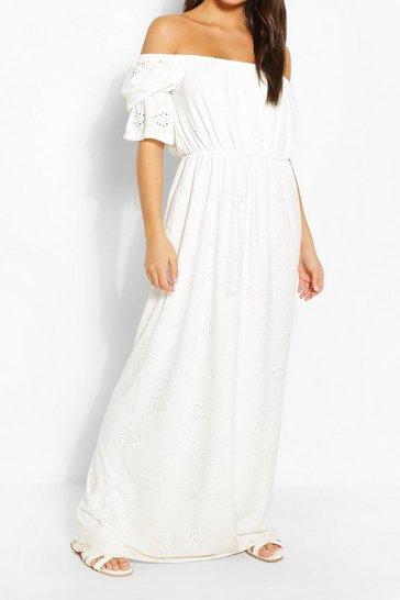 Ivory Jersey Broderie Off Shoulder Maxi Dress