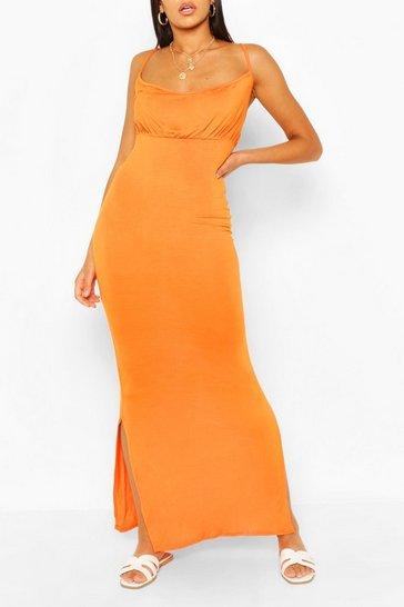 Orange Rouche Bust Maxi Dress