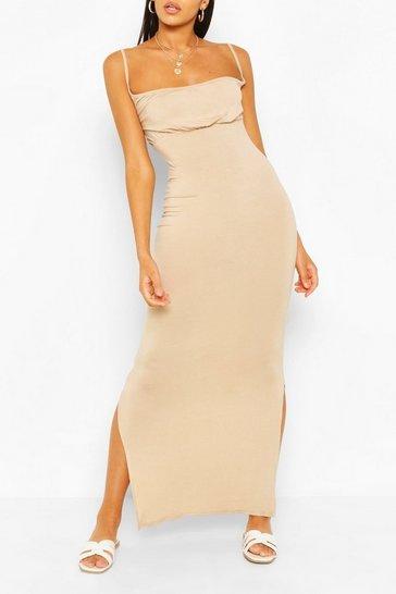 Stone Rouche Bust Maxi Dress