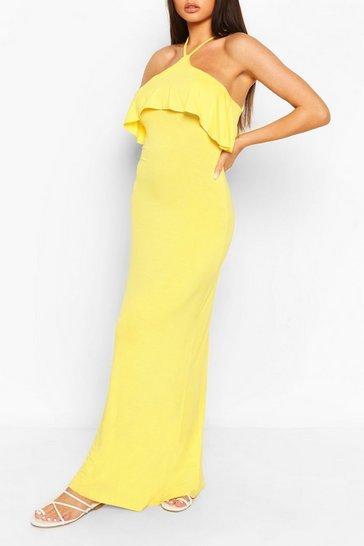 Yellow Ruffle Detail Cross Back Maxi Dress