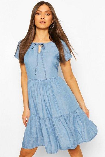 Light blue Chambray Tierred Smock Dress