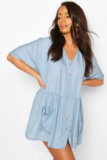 Light blue Chambray Button Front Pocket Smock Dress