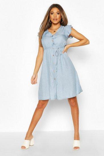 Light blue Chambray Frill Sleeve Button Skater Dress