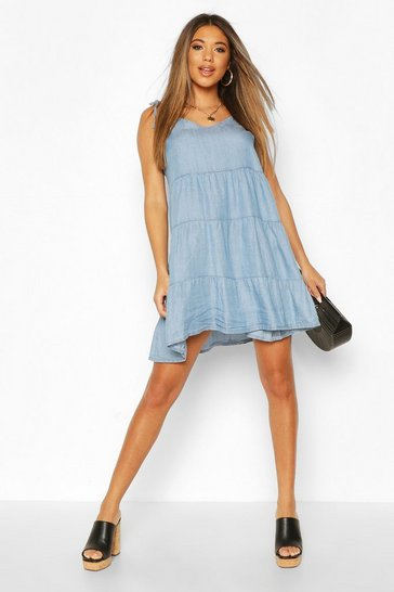 Light blue Chambray Tie Shoulder Tiered Shift Dress