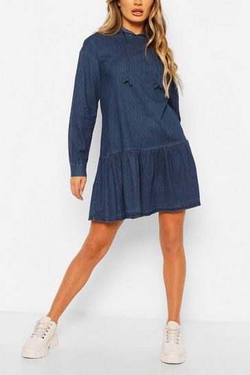 Mid blue Chambray Hooded Frill Detail Dress