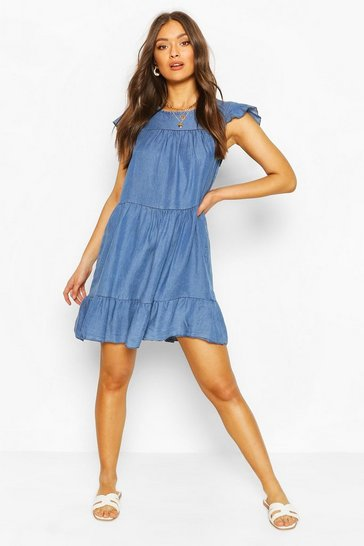 Mid blue Chambray Tierred Smock Dress