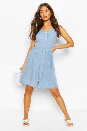 Light blue Chambray Button Front Skater Dress