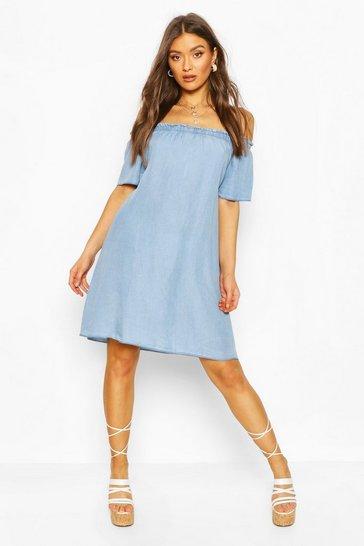 Light blue Chambray Off The Shoulder Shift Dress