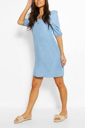 Light blue Chambray Shirred Back Shift Dress