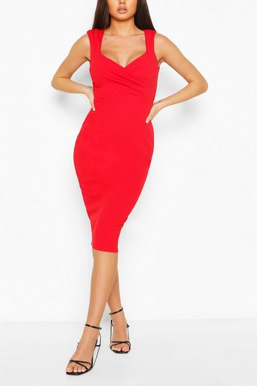 Red Sweetheart Wrap Crepe Bodycon Dress