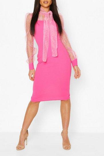 Pink Dobby Organza Pussy Bow Bodycon Midi Dress