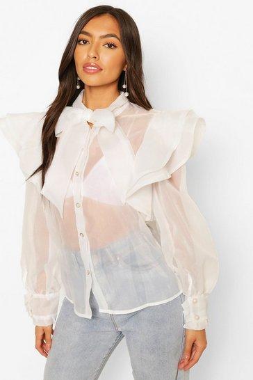 White Organza Ruffle & Bow Detail Shirt