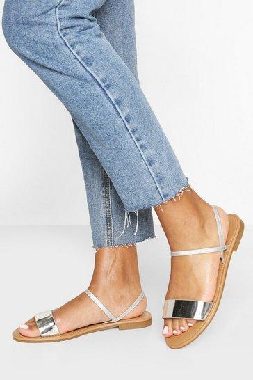 Silver Metallic Elastic Strap Sandals