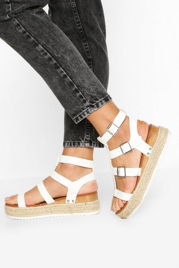 White Multi Strap Gladiator Flatforms