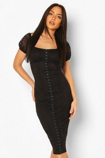 Black Off Shoulder Hook & Eye Lace Dress