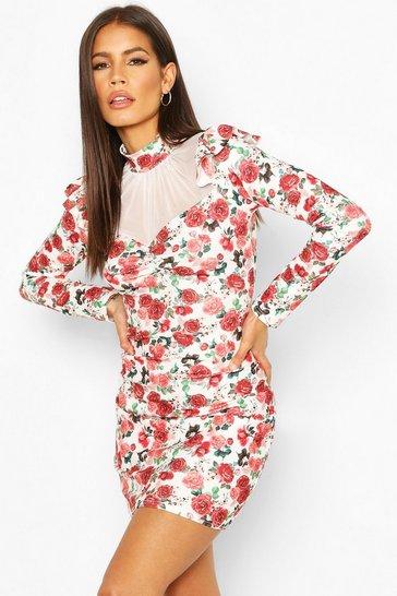 Red Floral Mesh Insert Puff Sleeve Mini Dress
