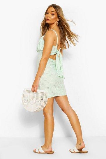 Mint Jersey Broderie Tie Back Mini Dress