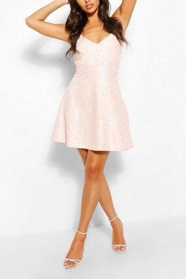 Nude Bonded Lace Scuba Skater Dress