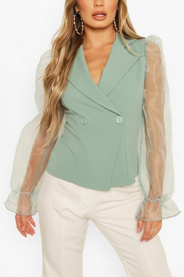 Mint Organza Sleeve Blazer