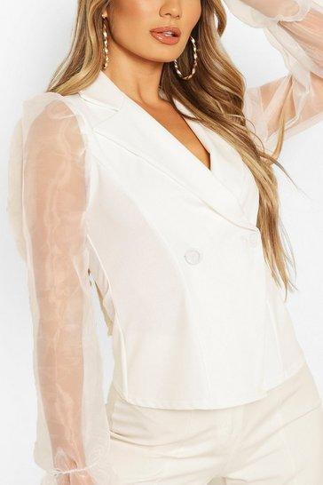 White Organza Sleeve Blazer