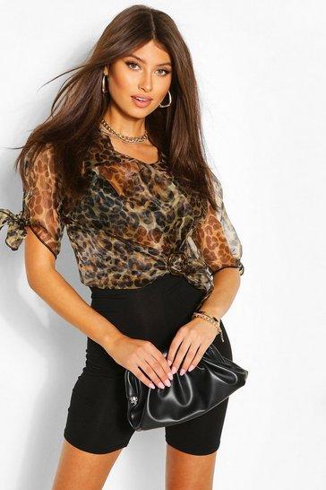 Brown Leopard Print Organza Tie Sleeve Shirt