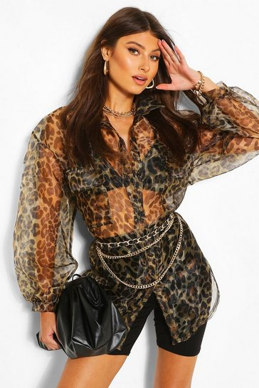 Brown Leopard Print Organza Long Sleeve Shirt