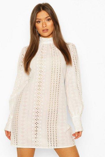 White Broderie Anglais High Neck Shift Dress