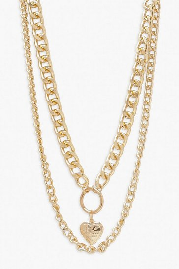 Gold Chunky Chain Heart Layer Necklace