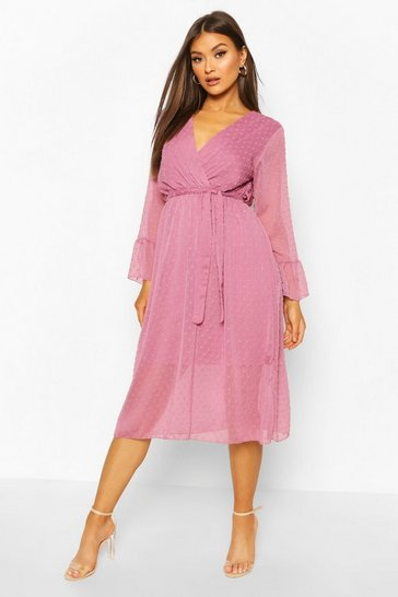 Lilac Dobby Belted Flare Sleeve Midi Dress