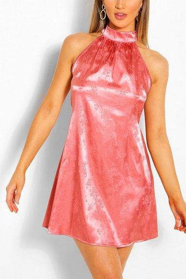 Rose Floral Jacquard Satin Sleeveless Swing Dress