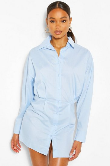 Sky Cotton Mix Shirt Dress