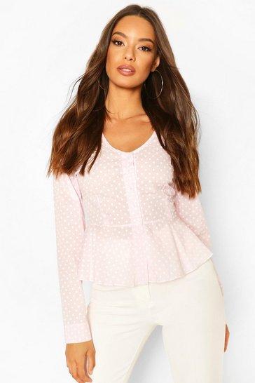 Pink Cotton Mix Polka Dot Button Down Shirt