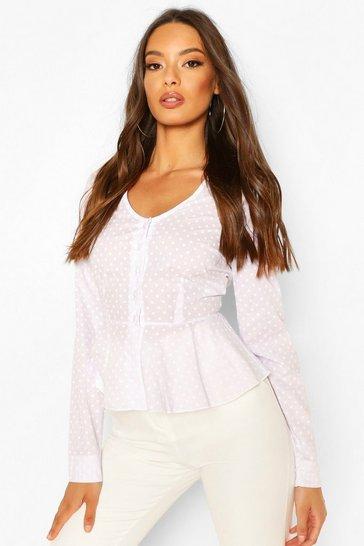 White Cotton Mix Polka Dot Button Down Shirt