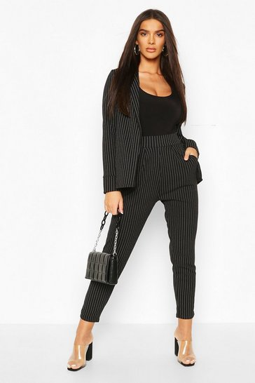 Black Pinstripe Tailored Blazer & Trouser Co-Ord Suit
