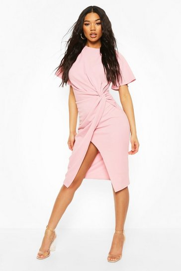 Rose Angel Sleeve Twist Detail Midi Dress