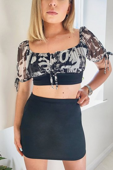 Black Mesh Tie Detail Top And Mini Skirt Co-ord