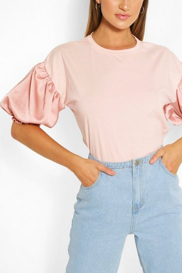 Blush Satin Puff Ball Sleeve T-Shirt