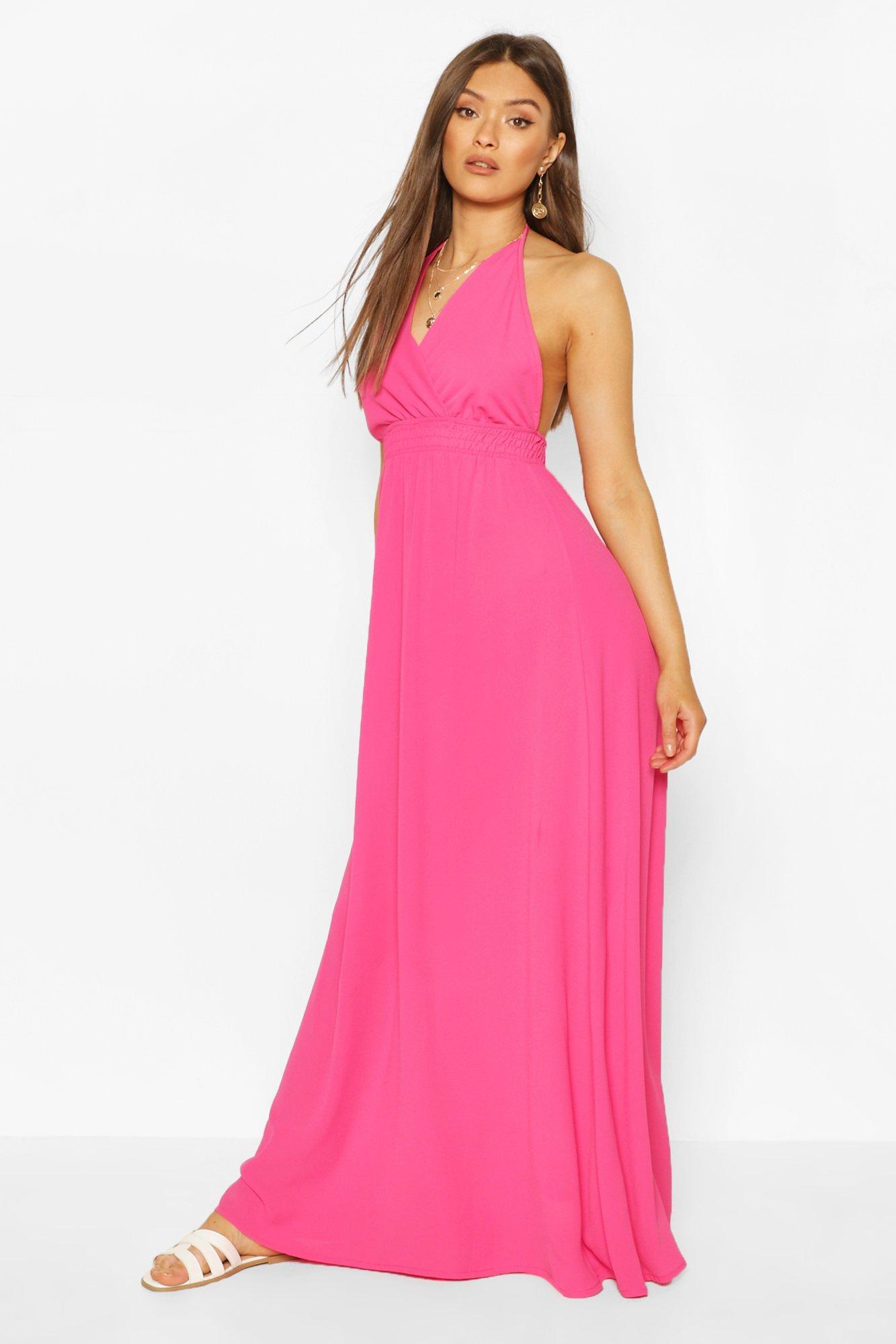 Boohoo Halterneck Shirred Waist Maxi Dress