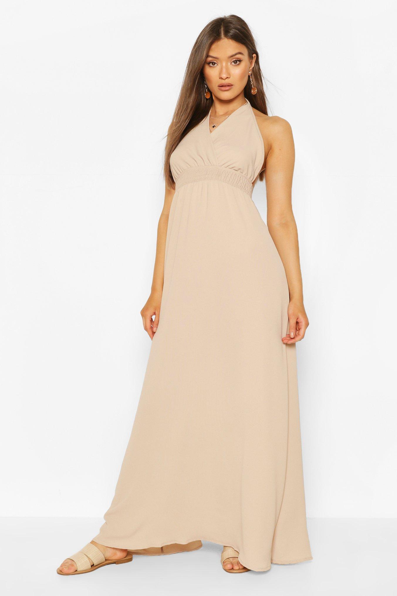 Boohoo Halterneck Shirred Waist Maxi Dress, Stone