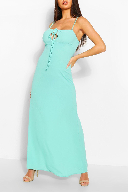 Boohoo Strappy Tie Detail Maxi Dress, Bright Blue