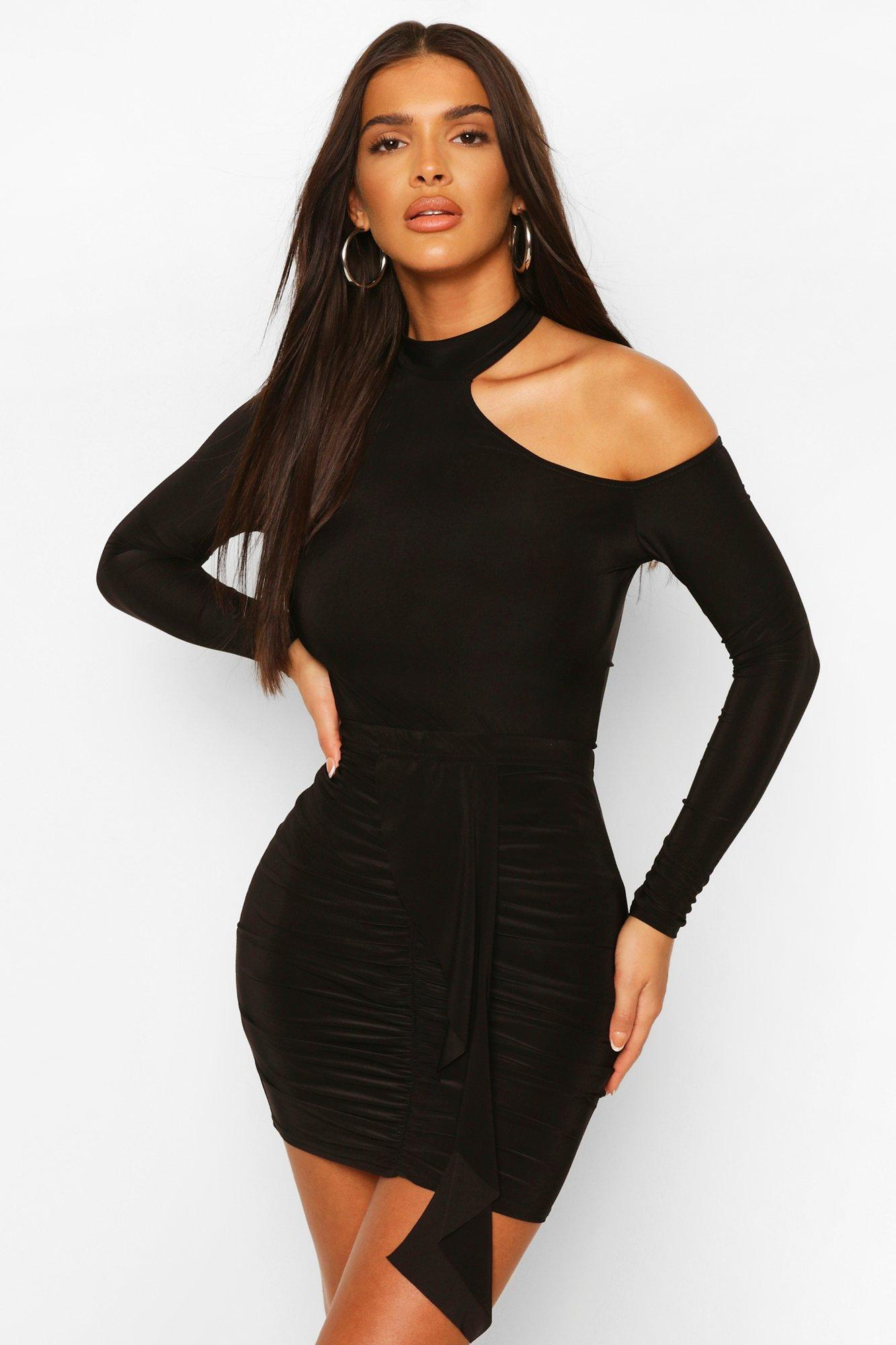 boohoo Womens Cut Out Neon Body Top - Black - 14, Black