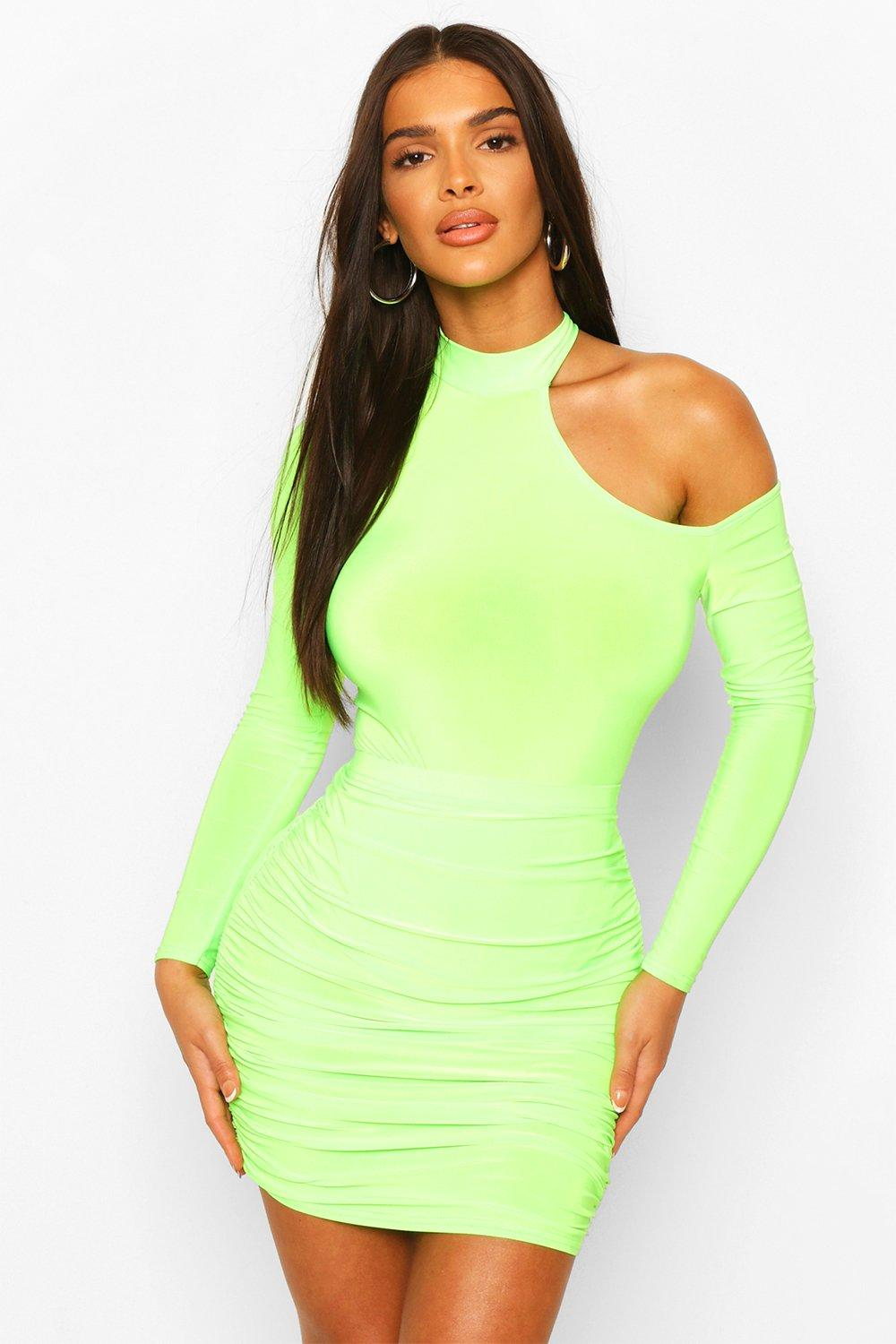 boohoo Womens Cut Out Neon Body Top - Green - 6, Green