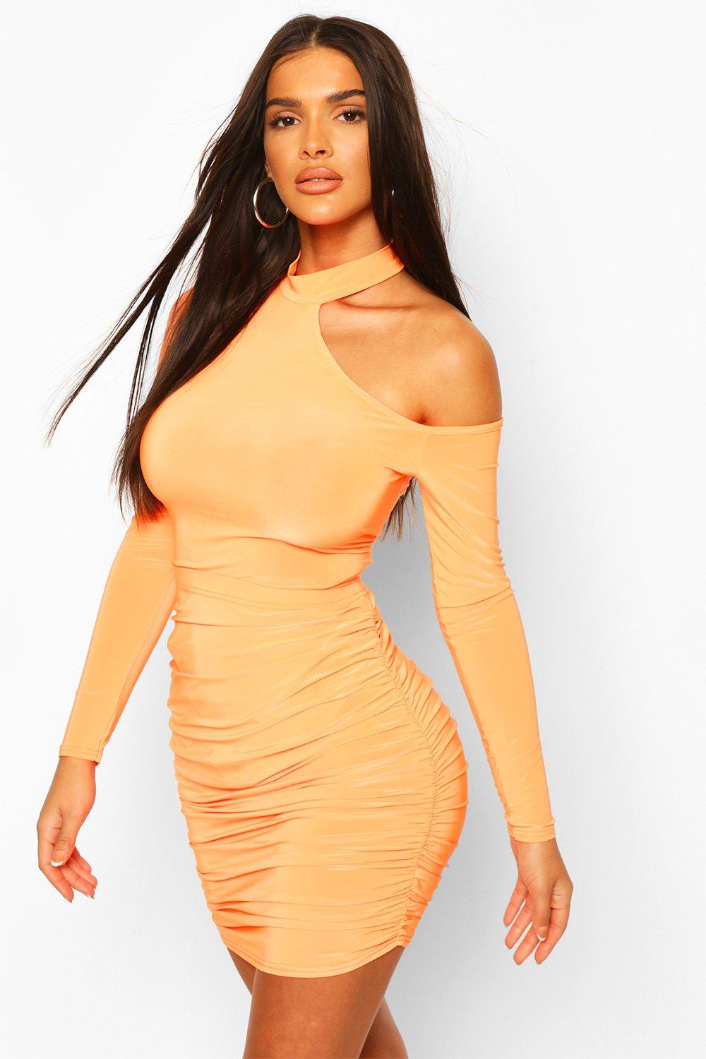 boohoo Womens Cut Out Neon Body Top - Orange - 10, Orange
