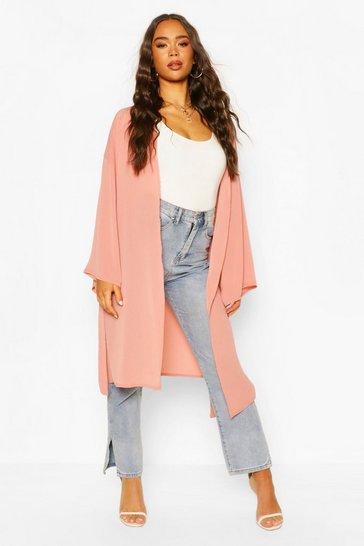 Rose Textured Midi Kimono