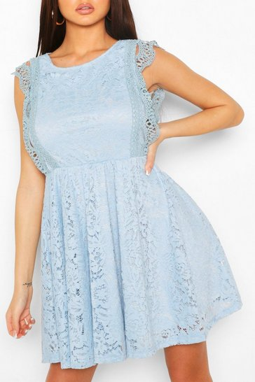Powder blue Lace Tiered Skirt Skater Dress