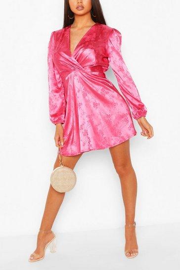 Pink Floral Jacquard Satin Skater Dress