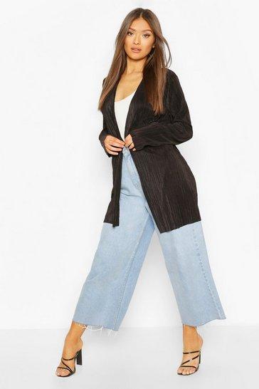 Black Pleated Plisse Kimono
