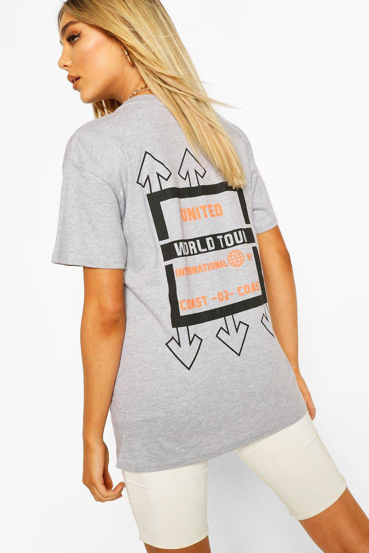 "Womens T-Shirt Mit ""United""-Grafik - Grau Meliert - L, Grau Meliert - Boohoo.com"