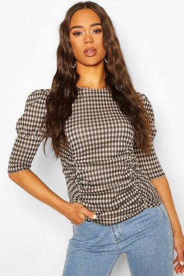 Black Tonal Check Ruched Front Puff Sleeve Top