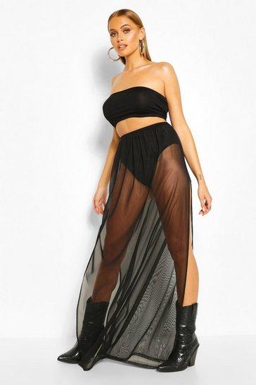 Black Bandeau Top & Mesh Tulle Skirt Co-ord